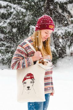 A JRT Doggo and her Mom in a snow storm. Cozy winter beanie look for women. Ethically and ecologically made sturdy canvas tote bag. Made of recycled cotton under CSR certificate. Check it out! Schnauzer, Beanie Outfit, Adventure Outfit, Hiking Dogs, Jack Russells, Dog Sweaters, Love Pet, Jack Russell Terrier, Dog Photography