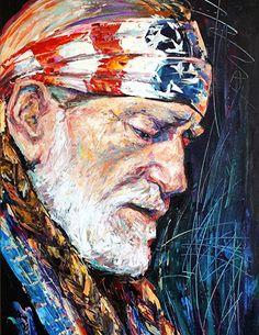 Willie Nelson by Natasha Mylius Impressionism, Contemporary Impressionism, Fine Art, Canvas, Image, Painting, Art, Portrait, Prints