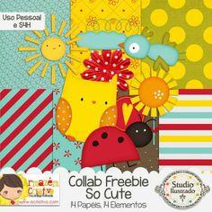 Collab Freebie So Cute com Armazém Criativo, Freebie Coruja, Passarinhos, Sun, Sol, Ladybug, Joaninha, Owl, Bird, Free, Grátis, Digital Kit