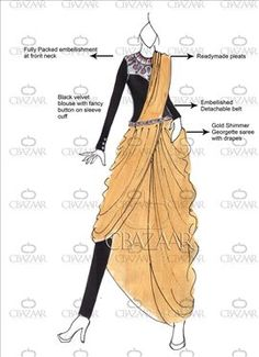 DIY Gold Pant Style Readymade Pleated Saree