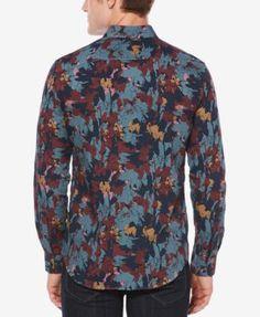 Perry Ellis Men's Camouflage-Print Shirt - Blue 5XLT