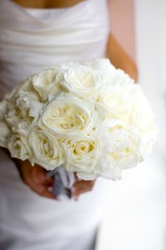 brides bouquet of white roses garden roses and peonies white wedding - White Garden Rose Bouquet