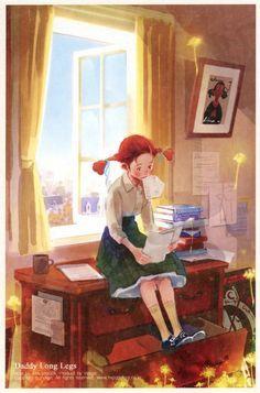 カイ: Kim, Ji-Hyuck(김지혁)(hanuol)... Dady Long Legs, My Daddy Long Legs, Old Anime, Anime Art, Anne With An E, Reading Art, Girl Reading, Reading Room, Children's Book Illustration