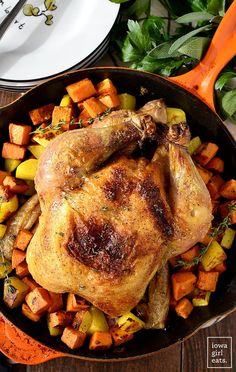 Perfect Roast Chicken is made with just 3 ingredients - chicken, salt, and pepper. This simple weeknight meal couldn't be easier, and leftovers can be used all week long! | iowagirleats.com