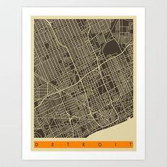 Detroit Map Art Print by Jazzberry Blue - $19.00
