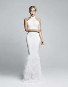 White halter neckline feather dress