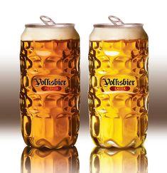 Volksbier's Unique Beer Can Mimics a Transparent Glass Beer Mug #drinking trendhunter.com