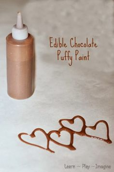 Easy to make edible chocolate puffy paint, only four ingredients!  Toddler safe and big kid approved.
