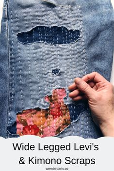 Using elements of sashiko and embroidery in her visible mending, Erin Eggenburg shares clothing repair tutorials of how to extend the life of what you wear with simple mending techniques. Shashiko Embroidery, Boro Stitching, Estilo Hippy, Visible Mending, Make Do And Mend, Denim Ideas, Denim Crafts, Patched Jeans, Japanese Embroidery