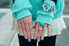 nails, turquoise, jewel, ring