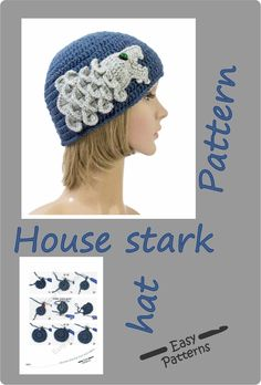 Winter is coming! Here the House stark hat pattern designed for Game of Thrones lovers. Crochet Poppy, Love Crochet, Crochet Motif, Irish Crochet Patterns, Knitting Patterns, Crochet Ideas, Knitted Hats, Crochet Hats, House Stark