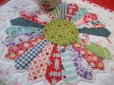 Scrappy Dresden Plate Quilted Table Runner