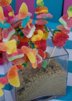 Candy kabobs, girl surf party