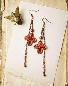 lace earrings -ARDEN- long earrings - dangle earrings handmade by white owl. $24.00, via Etsy.