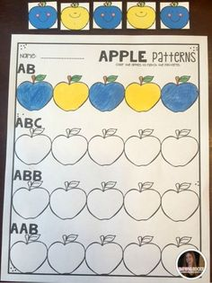 Apples Preschool and Kindergarten is full of hands on science, math and literacy activities and centers.   Students will create and record their own patterns by coloring the apples.