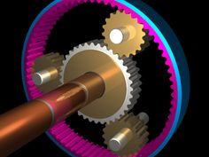 I created an animated GIF version of my planetary gears. Since it is an animated GIF, the color resolution isn't as good (had to dither). Raytraced Animated Planetary Gears (Fixed Carrier) Mechanical Gears, Mechanical Design, Mechanical Engineering, Car Animation, Longboard Trucks, Planetary Gear, Robotics Projects, Rc Tank, Power Wheels