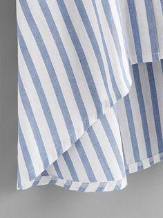 Contrast Striped Petal Sleeve Dip Hem Shirt For Women-romwe Petal Sleeve, Shirt Dress, Blouse, Sheinside, Romwe, Contrast, Dip, Casual, Sleeves