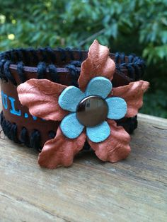 Painted Leather Cuff  'You Are Beautiful' by Gratify on Etsy, $25.00
