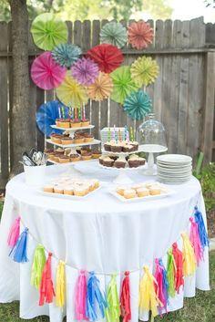 Hosting a colorful backyard birthday party. Backyard Party Decorations, Birthday Party Decorations, Holi Party, Backyard Birthday Parties, Backyard For Kids, First Birthdays, Party Time, Picnic, Elsa Birthday