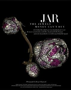 JAR - The Jewels Money Can't Buy. US Harper's BAZAAR -Sept 2013 Camellia-branch brooch of rubies, pink sapphires, garnets, and diamonds.  PHOTO BY JOZSEF TARI