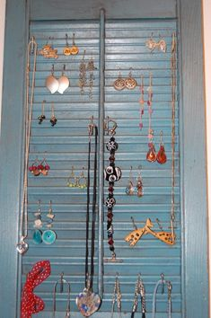 I See Spotz: busting the stash. part one The Shutter jewelry rack Jewellery Storage, Jewelry Organization, Jewellery Display, Create Your Own Furniture, Diy Furniture, Hair Bow Storage, Style Pantry, Bracelet Display, Jewelry Hanger