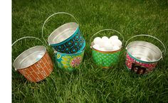 Diy personalized Easter basket. adorable to be able to pick complimentary patterns.