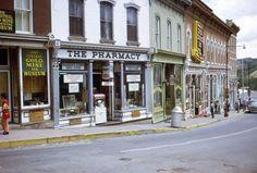 35mm Slide Central City Street Scene Colorado Pharmacy Shops 1971 Kodachrome