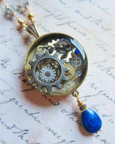 The Clockwork Porthole  A Steampunk Resin Pendant by SihayaDesigns #Jewelry #Lapis Lazuli