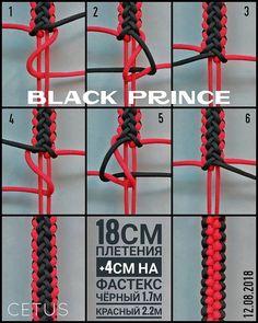 from - Black prince/Черный принц. Paracord Bracelet Instructions, Paracord Bracelet Designs, Paracord Tutorial, Bracelet Knots, Paracord Bracelets, Bracelet Tutorial, Paracord Weaves, Paracord Braids, Paracord Knots