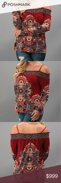 ?? Arriving Soon!! ?? Bohemian Cold Shoulder Long Sleeve Top. Beautiful multi print in wine cream and blue colors. Small slash medium slash large. 96% polyester 4% spandex.  No Trades  Price Firm Unless Bundled  10% off Bundles of 2+ Items Will be $30 Please like this listing to be notified when they arrive! Boutique Tops Blouses