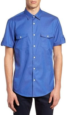 CALIBRATE Military Slim Fit Non-Iron Sport Shirt