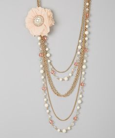 Look what I found on #zulily! Bubbly Bows Peach Chiffon Flower Bib Necklace by Bubbly Bows #zulilyfinds