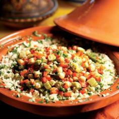 Okra & Chickpea Tagine Recipe - next time  get some okra - or wait a minute, I thinkn I have some frozen...