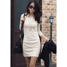 Korean Style Long Sleeve Off-The-Shoulder Scoop Neck Pure Color Slim Dress For Women  $11.72