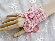 Victorian Lace Wrist Cuff Bracelet - Antique Rose Upcycled Vintage Lace Cuff. $24.00, via Etsy.
