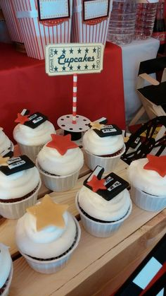Themed cupcakes at a Movie Party Birthday Party!  See more party ideas at CatchMyParty.com!