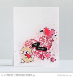 Otterly Love You Stamp Set and Die-namics, I'm Owl Yours Stamp Set and Die-namics, Abstract Heart Die-namics, Label Maker Love Stamp Set, Geometric Grid Stencil - Melania Deasy  #mftstamps