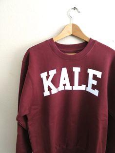 Kale Sweatshirt Kale Shirt Kale Jumper Fleece by GNARLYGRAIL