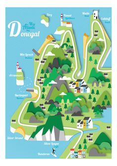 Reddin designs illustration map of Donegal.  Donegal, Map, Vector, Landscape, Map of Ireland, Mountains, Seaside, Wild Atlantic Way, Malin Head, Culldaff Beach, Tory Island, Fanad Lighthouse, Min Larach Harbour, Arranmore, Burtonport Harbour, Silver Strand, Slieve League, Bundoran,