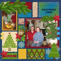 Christmas 2008 using Lisa Rosa's kit Santa is coming and Template Stronger by KimB.  (Version1)  Digital Scrapbook layout by Kaytea