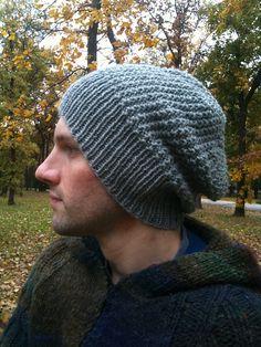 Free knitting pattern for unisex slouchy beanie in reversible broken rib pattern tba