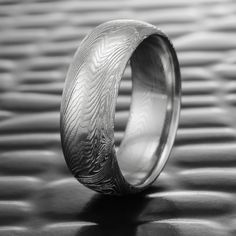 Men's Damascus Steel Ring Domed Men's Band   FINE WOOD — Steven Jacob Wide Wedding Bands, Wedding Men, Wedding Rings, Damascus Ring, Damascus Steel, Wood Rings, Wedding In The Woods, Precious Metals