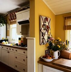 paint samples for kitchen   Contemporary Kitchen Stencils Designs --- I really like the mustard color!
