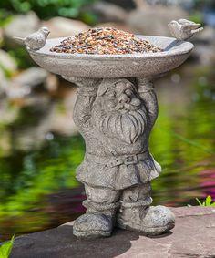 Look what I found on #zulily! Stone Finish Gnome Bird Feeder #zulilyfinds