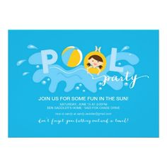 "kids pool party invitations featuring a fun design, with splash, beach ball and the words ""Pool party"", on blue background // kids summer party invitations  http://www.zazzle.com/summer_pool_party_announcement-161483914979248000?rf=238395237176455059"