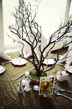 of my tables will have these in white with clear crystals, hanging votive candles, & pale pink mini carnations. These Manzanita Crystal Wedding Trees are so PRETTY! Manzanita Tree Centerpieces, Winter Centerpieces, Table Centerpieces, Wedding Centerpieces, Wedding Decorations, Tree Wedding, Floral Wedding, Wedding Flowers, Woodland Wedding