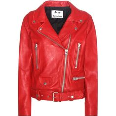 Acne Studios Mock Leather Jacket ($1,680) ❤ liked on Polyvore featuring outerwear, jackets, red, 100 leather jacket, red leather jacket, real leather jackets, red jacket and genuine leather jackets