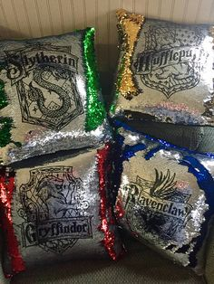 Choose Your Hogwarts House Design on these fun reversible sequin pillows. Or you can get all 4. 16x16 pillow cover with colored sequins on one side that flip to the silver side with the house design done in black, and black satiny material on back with zipper closure. Fun sequins flip