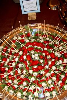 Mozzarella with Tomato and Basil.. always a Huge Hit. Notice the wine cork note card holder.