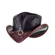 """Desperado"" Oxblood Vented Western Rocker Hat With Antique Brass Ring Accent"